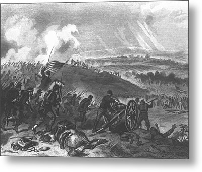 Battle Of Gettysburg - Final Charge Of The Union Forces At Cemetery Hill, 1863 Pub. 1865 Engraving Metal Print