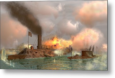 Battle Of The Ironclads Metal Print by Walter Colvin