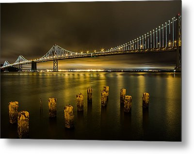 Bay Bridge And Clouds At Night Metal Print by John Daly