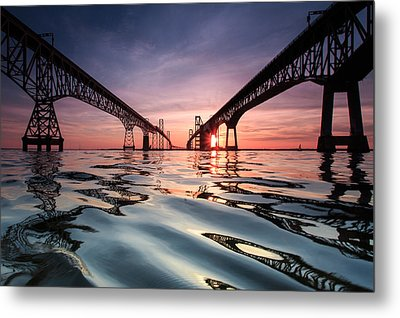 Metal Print featuring the photograph Bay Bridge Reflections by Jennifer Casey