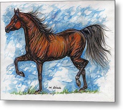 Bay Horse Running Metal Print by Angel  Tarantella