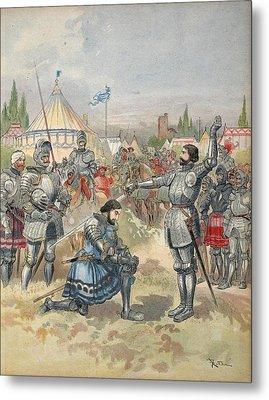 Bayard Knighting Francis I Metal Print by Albert Robida