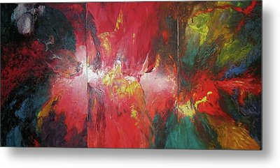 Metal Print featuring the painting Bayley - Exploding Star Nebuli by Carrie Maurer