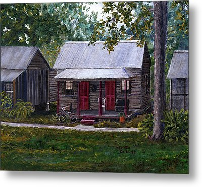 Bayou Cabins Art Breaux Bridge Louisiana Metal Print by Lenora  De Lude