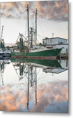 Bayou La Batre' Al Shrimp Boat Reflections 42 Metal Print