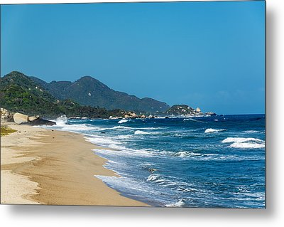 Beach And Blue Waves Metal Print