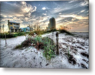Beach And Buildings Metal Print