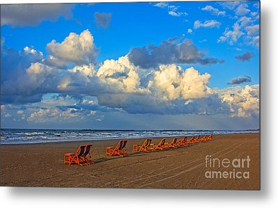 Beach And Chairs With Cloudy Sky Metal Print by Mohamed Elkhamisy
