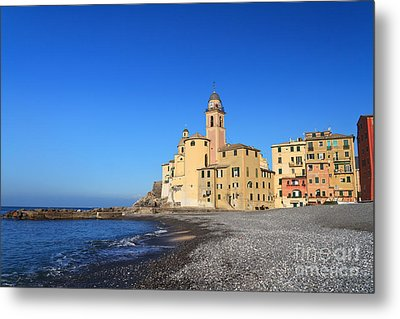 Metal Print featuring the photograph beach and church in Camogli by Antonio Scarpi