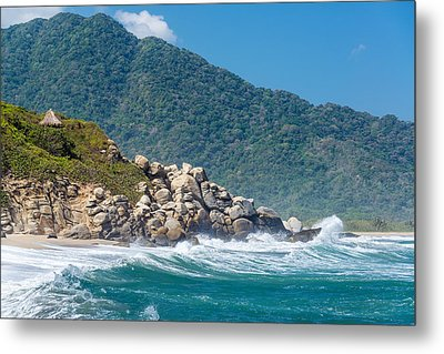 Beach And Green Hills Metal Print