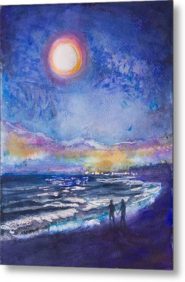 Beach At Night Metal Print by Patricia Allingham Carlson