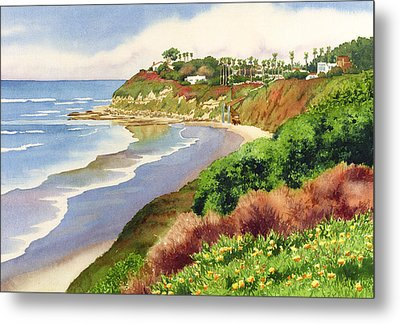 Beach At Swami's Encinitas Metal Print by Mary Helmreich