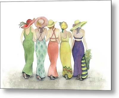 Beach Babes In Coverups And Hats Ready For A Day In The Sun Metal Print