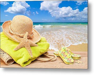 Beach Bag With Sun Hat Metal Print by Amanda Elwell