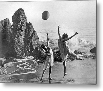 Beach Ball Dancing Metal Print by Underwood Archives