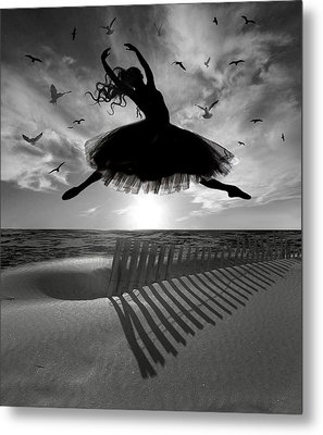 Metal Print featuring the digital art Beach Ballerina by Nina Bradica
