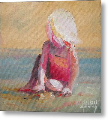 Beach Blonde Girl In The Sand Metal Print by Mary Hubley