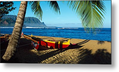 Beach Boat Hanalei Bay Kauai Hi Usa Metal Print by Panoramic Images