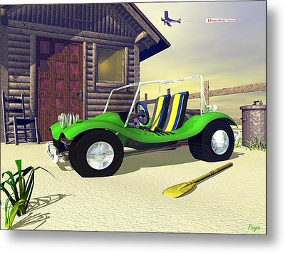 Metal Print featuring the digital art Beach Buggy by John Pangia