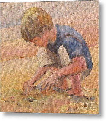 Beach Bum Boy In The Sand Metal Print by Mary Hubley