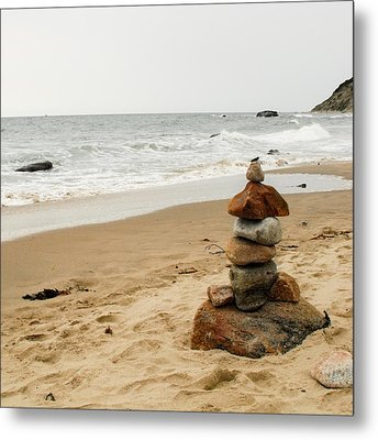 Beach Cairn  Metal Print