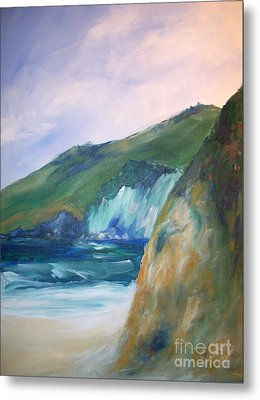 Metal Print featuring the painting Beach California by Eric  Schiabor