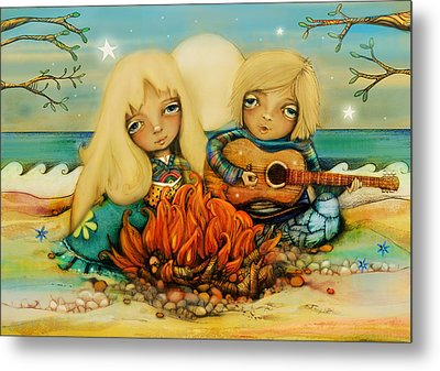 Beach Campfire Metal Print by Karin Taylor