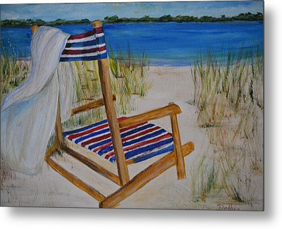 Metal Print featuring the painting Beach Chair by Debbie Baker