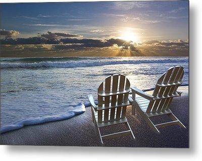 Beach Chairs Metal Print by Debra and Dave Vanderlaan