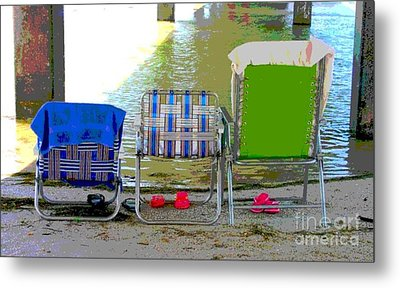 Beach Chairs Metal Print by Jeanne Forsythe