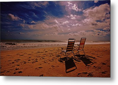 Metal Print featuring the photograph Beach Chairs by John Harding