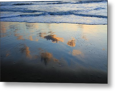 Beach Clouds Reflected At Sunset Texel Metal Print by Duncan Usher