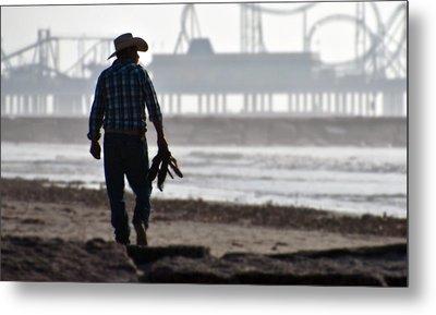 Beach Cowboy Metal Print by John Collins