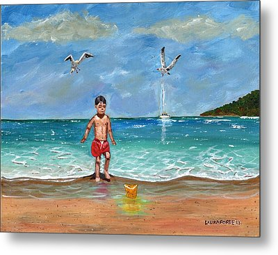 Beach Day Metal Print by Laura Forde