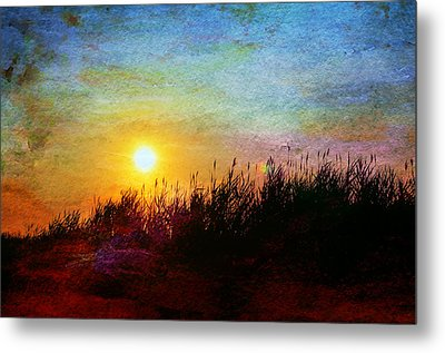 Beach Dune Sunset Metal Print