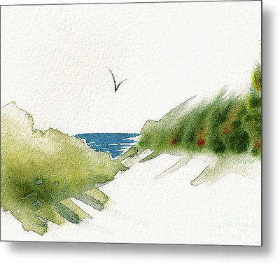 Metal Print featuring the painting Beach Dunes And Bird by Nan Wright
