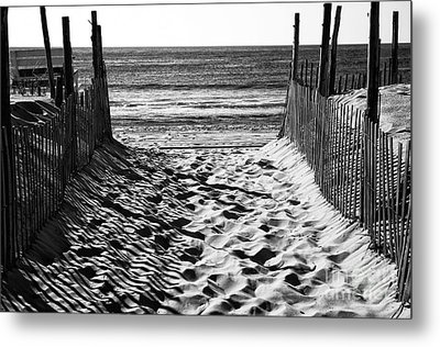 Beach Entry Black And White Metal Print by John Rizzuto