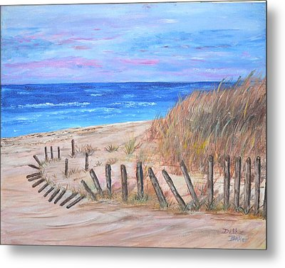 Metal Print featuring the painting Beach Fence by Debbie Baker
