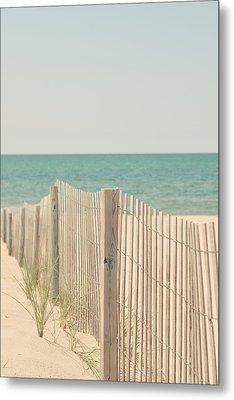 Beach Fence Ocean Shabby Photograph Metal Print by Elle Moss