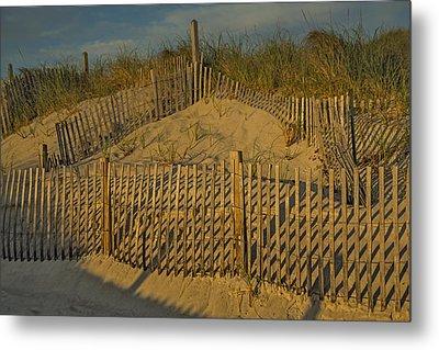 Beach Fence Metal Print by Susan Candelario
