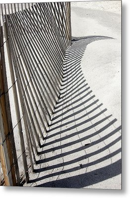 Beach Fence With Shadow Metal Print by Ellen Tully