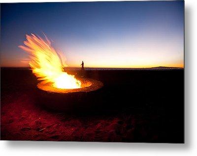 Beach Fire Pit Metal Print by Joe Belanger