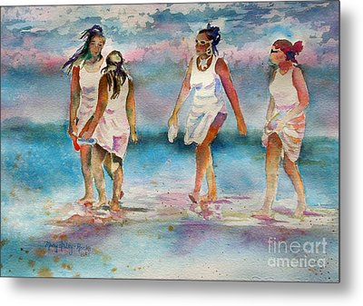 Metal Print featuring the painting Beach Fun by Mary Haley-Rocks