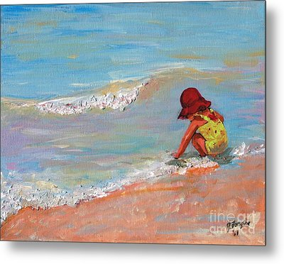 Beach Girl In Red Hat Metal Print by Jeanne Forsythe