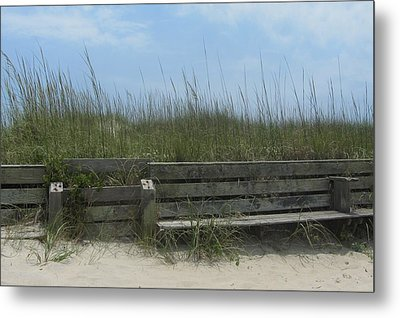 Metal Print featuring the photograph Beach Grass And Bench  by Cathy Lindsey