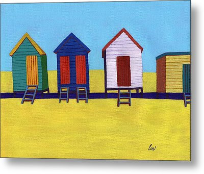 Beach Huts Metal Print by Bav Patel