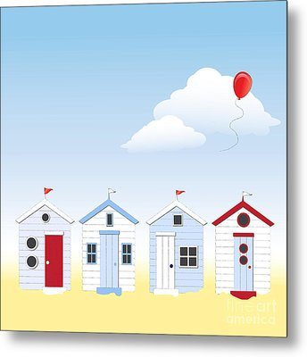 Beach Huts Metal Print by Jane Rix