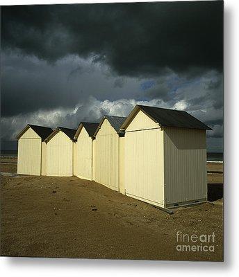 Beach Huts Under A Stormy Sky In Normandy. France. Europe Metal Print by Bernard Jaubert