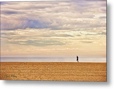Beach Jogger Metal Print by Chuck Staley