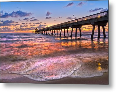 Beach Lace Metal Print by Debra and Dave Vanderlaan